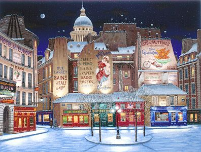 Winter in Paris  Deluxe on canvas Serigraph on Paper 27 x 36 by Liudmila Kondakova