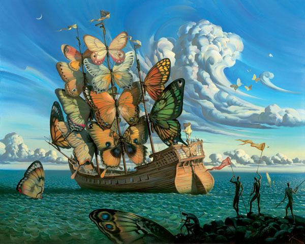 DEPARTURE OF THE WINGED SHIP 39 x 31 Edition: 325 by Vladimir Kush