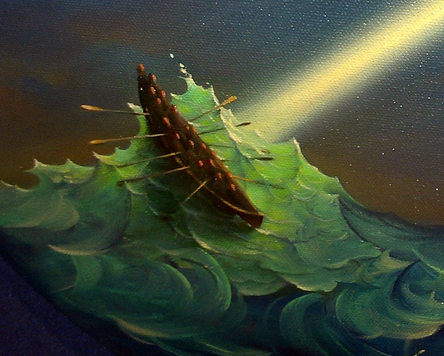 Vladimir Kush - Original Painting Ulysses: Rough Water - Oil on Oval Canvas