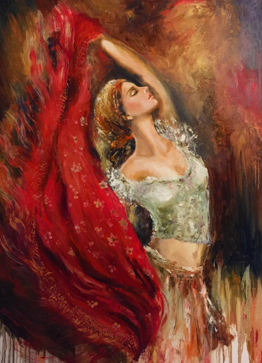Liana Gor - FLYING SHAWL 30x40 - Oil on Canvas