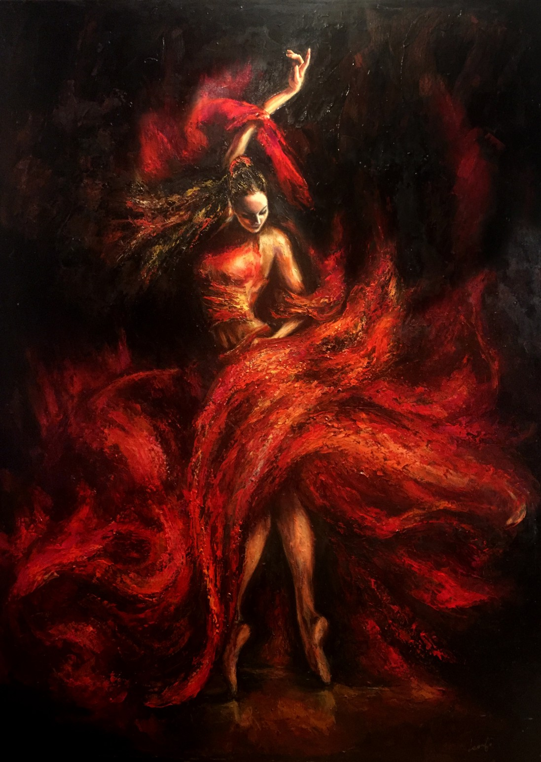 Liana Gor - Flamenco - Oil on Canvas