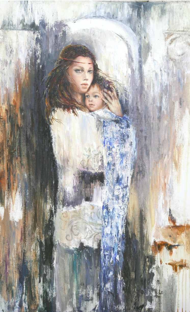 Liana Gor - Mother with Child 48x36 - Oil on Canvas
