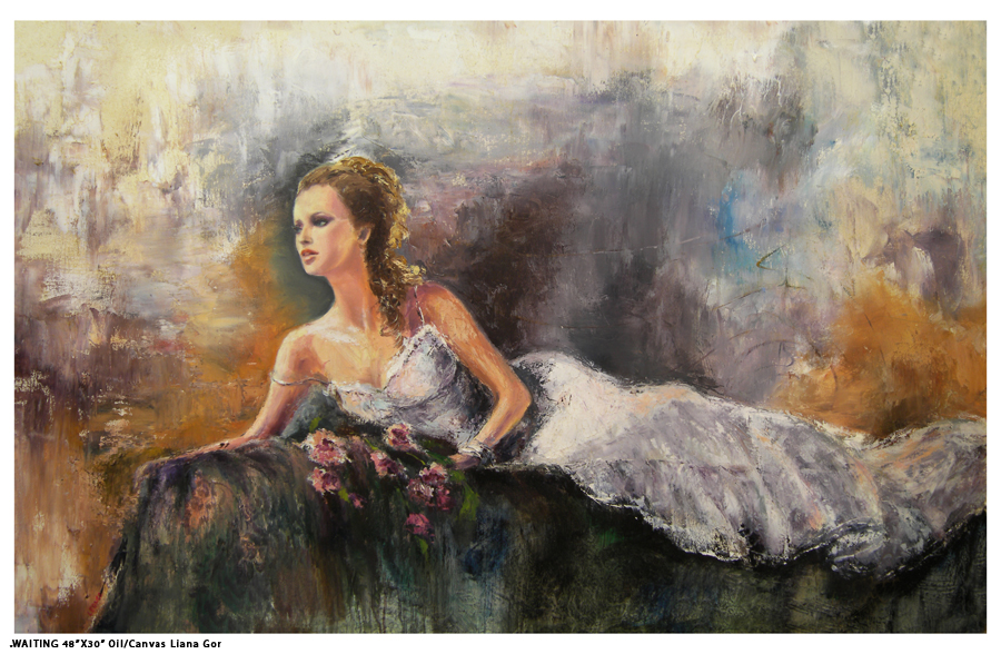 Liana Gor - Waiting 48x30 - Oil on Canvas