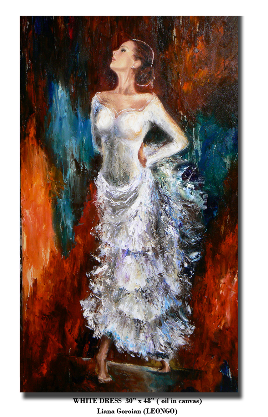 Liana Gor - White Dress Flamenco - 48x30 - Oil on Canvas