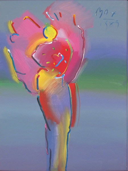 ANGEL WITH HEART IN SPECTRUM - original painting on canvas - Fine Art by Peter Max