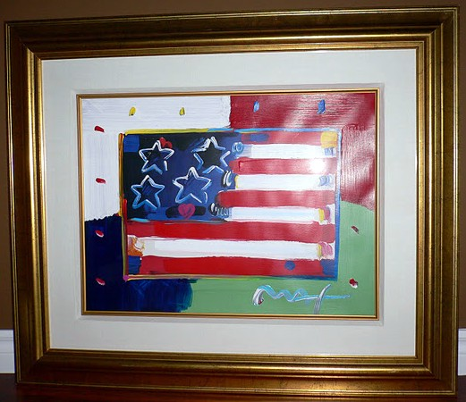 Flag with Heart - Fine Art by Peter Max