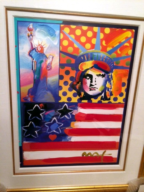 GOD BLESS AMERICA - original mixed media painting - Fine Art by Peter Max