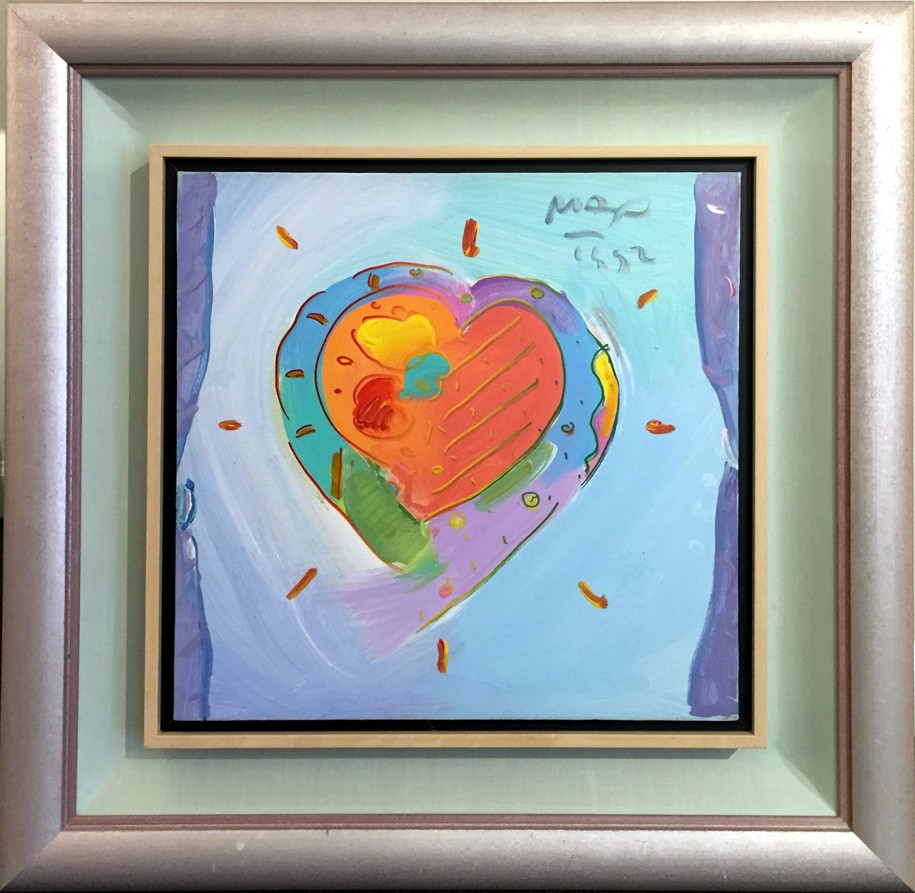 heart original painting on canvas fine art by peter max. Black Bedroom Furniture Sets. Home Design Ideas