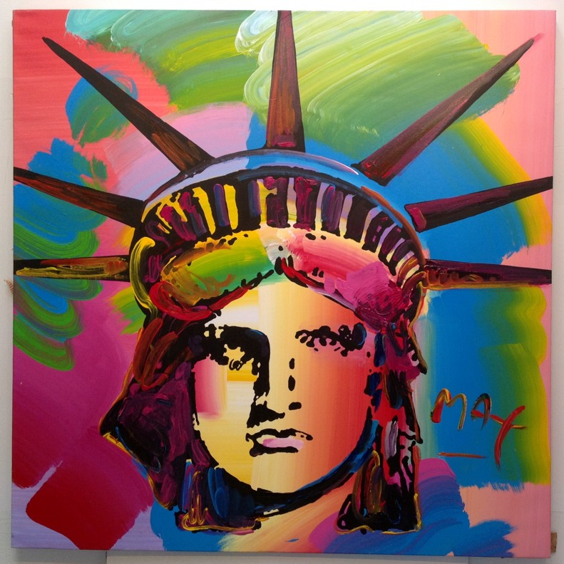 LIBERTY HEAD - original painting on canvas - Fine Art by Peter Max