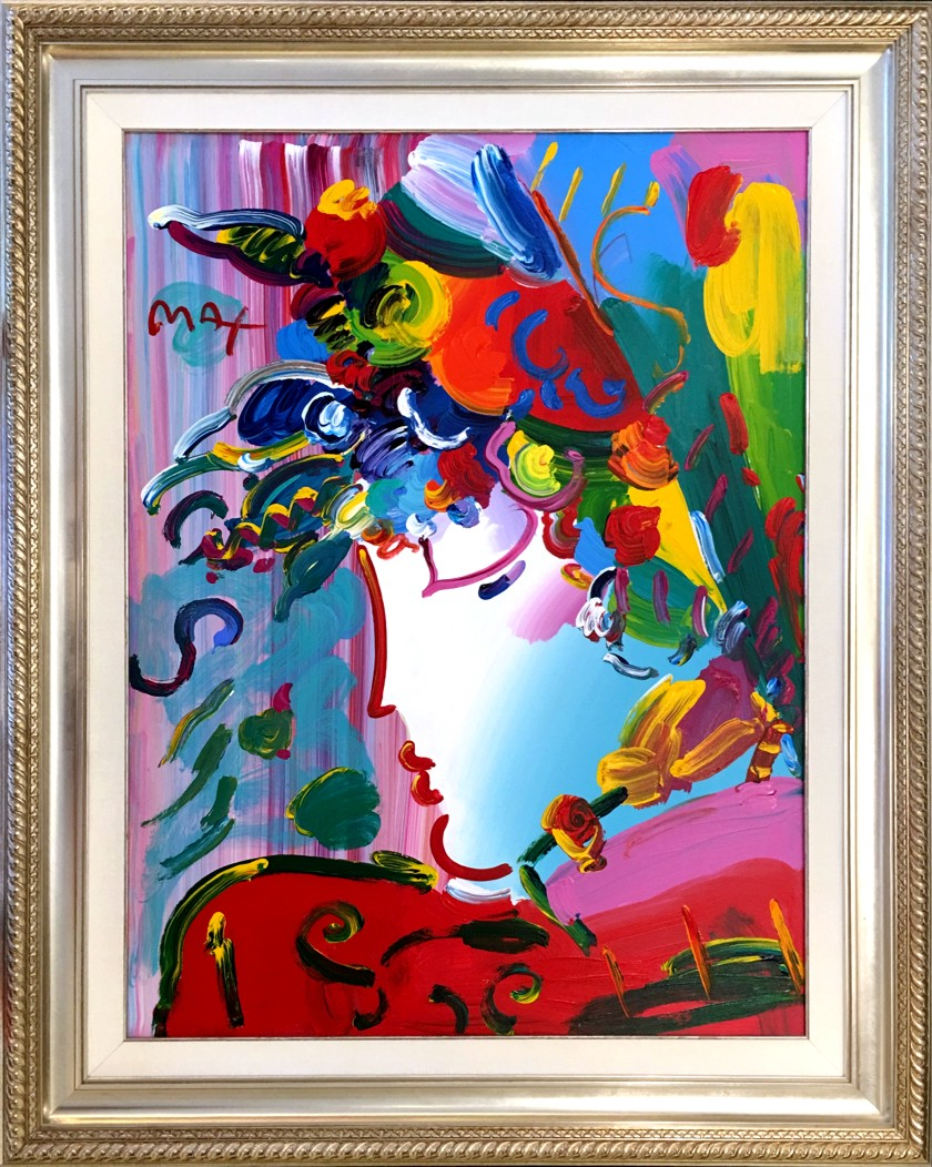 BLUSHING BEAUTY - original painting on canvas - Fine Art by Peter Max