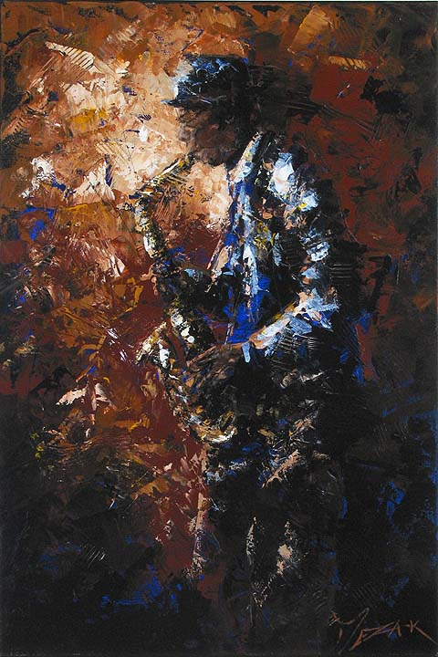 BLUES PLAYER - original painting by
