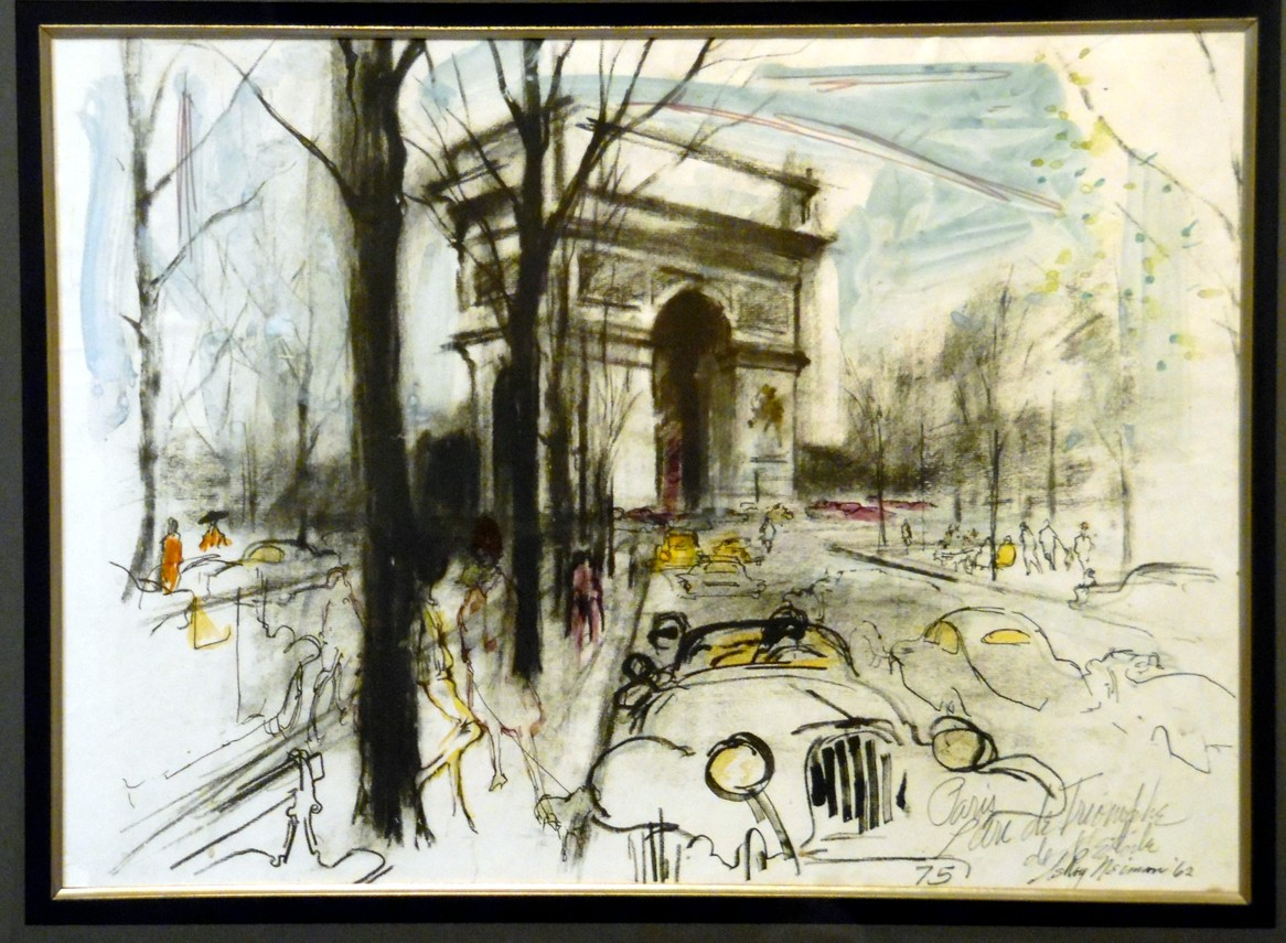 Original watercolor art for sale - Leroy Neiman Arc De Triomphe Original Watercolor Painting