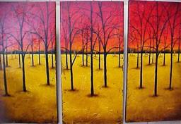 Tina Palmer - Red Triptych - original painting