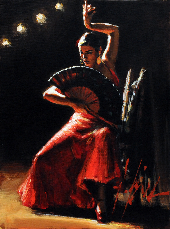 Fabian Perez - Celina con Abanico III - limited edition print on canvas