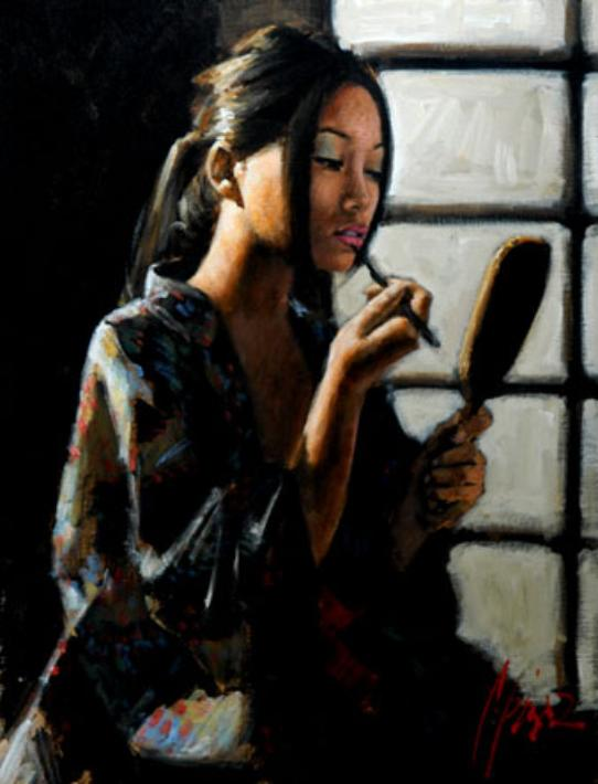 Fabian Perez - Geisha with Mirror