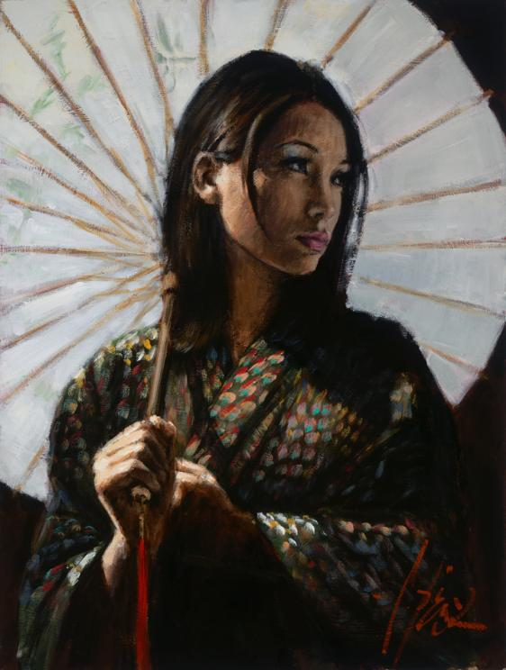 Fabian Perez - Michiko 2 with White Umbrella