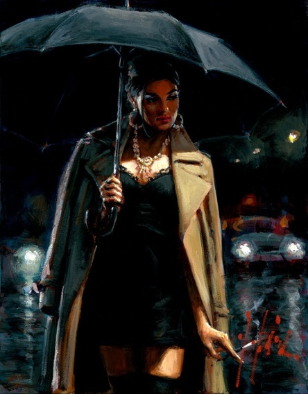 Fabian Perez - NOVEMBER RAIN II - signed and numbered limited edition print on canvas