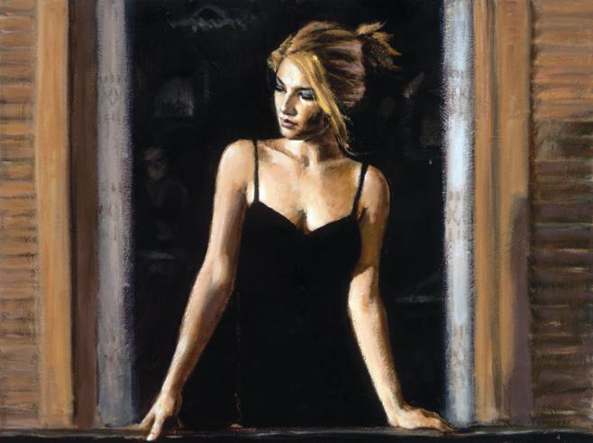 Fabian Perez - BALCONY AT BUENOS AIRES VII - signed and numbered limited edition print on canvas