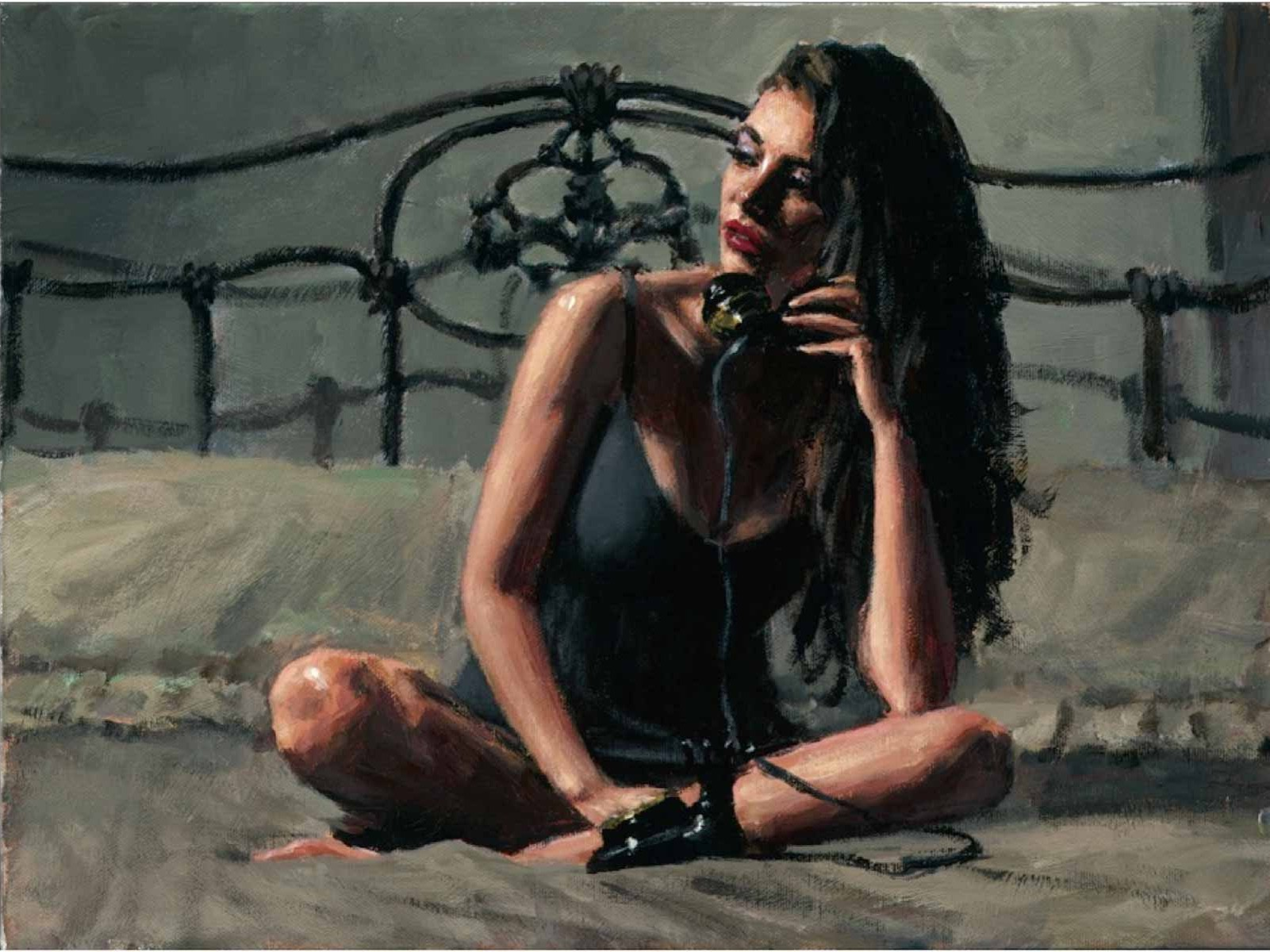 Fabian Perez - Black Phone Signed and Numbered Limited Edition
