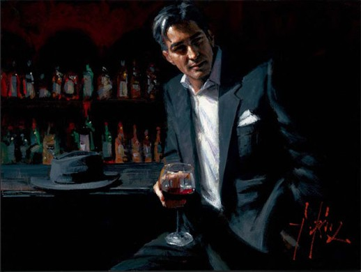 Fabian Perez - Black Suit Red Wine