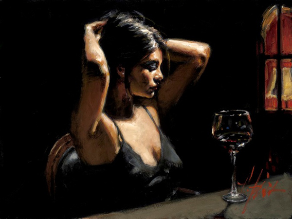 Fabian Perez - THE DARK ROOM II - signed and numbered limited edition print on canvas