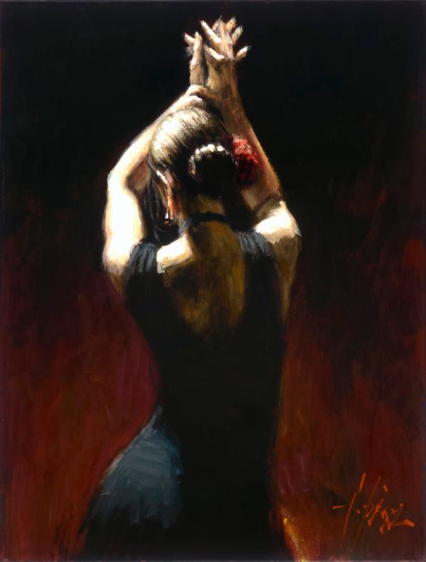 Fabian Perez - Flamenco Dancer in Black Dress