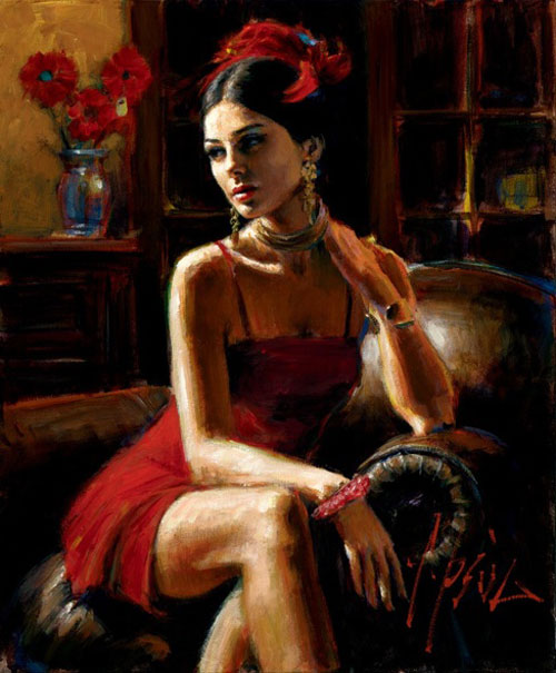 Fabian Perez - LINDA IN RED - signed and numbered limited edition print on canvas