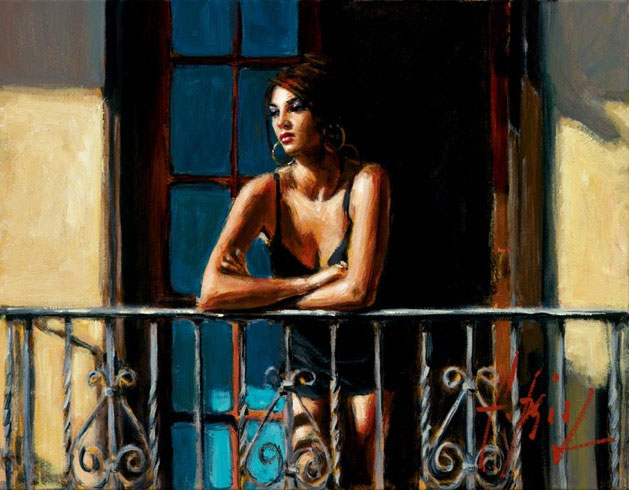 Fabian Perez - SABA AT THE BALCONY VI - signed and numbered limited edition print on canvas