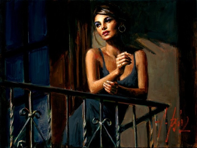 Fabian Perez - SABA AT THE BALCONY VII - signed and numbered limited edition print on canvas