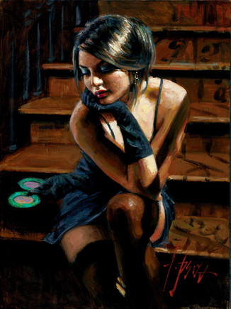 Fabian Perez - SABA ON THE STAIRS - signed and numbered limited edition print on canvas
