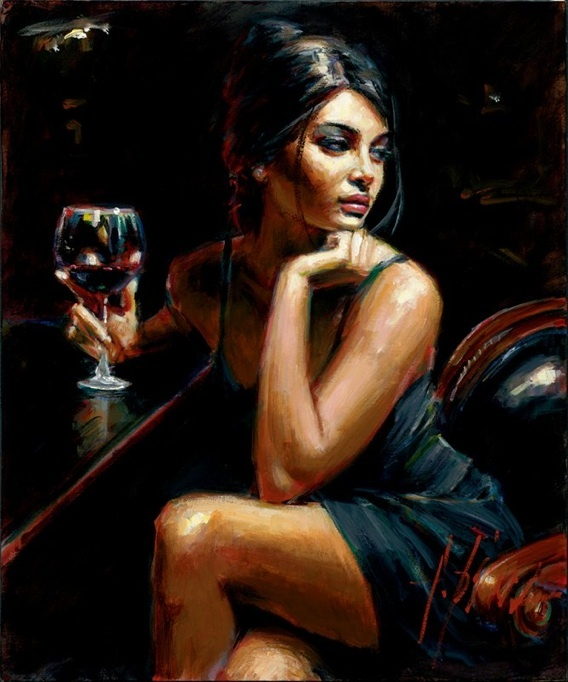 Saba with Red Wine by Fabian Perez - limited edition print on canvas