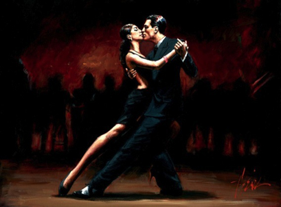 Fabian Perez - Tango in Paris in Black Suit