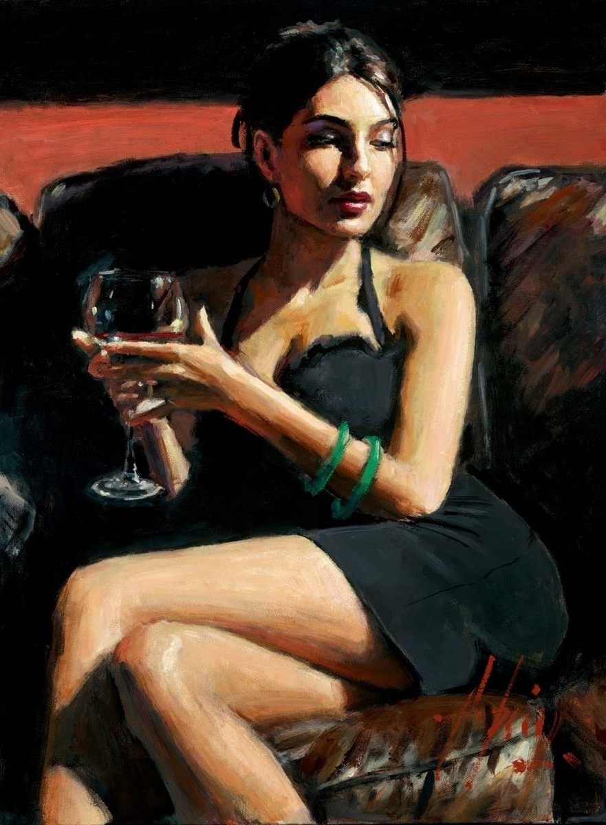 Fabian Perez - tess on leather couch
