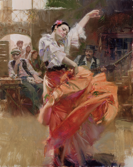 Flamenco In Red Hand Embellished by Pino Giclee on Canvas 40 x 24