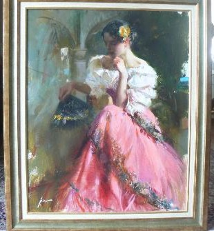 Flower of Spain  by Pino Original Painting, Oil on Canvas Size: 30 x 24
