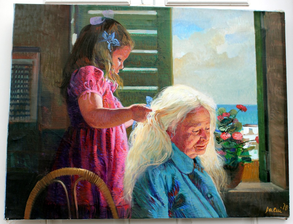 GRANDMOTHER & GRAND DAUGHTER  by Pino Original Painting, Oil on Canvas