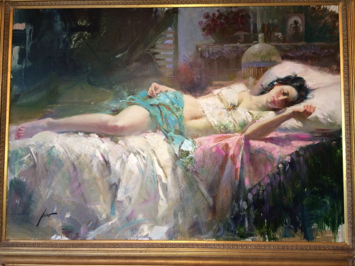 Intimate Dress by Pino Original Painting, Oil on Canvas Size: 34 x 48