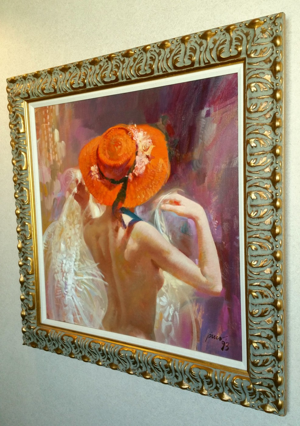 LADY IN ORANGE HAT  by Pino Original Painting, Oil on Canvas