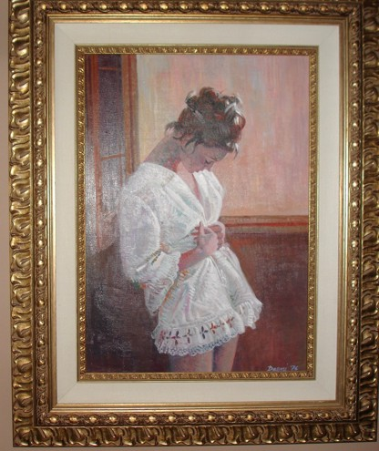 Lady in White  by Pino Original Painting, Oil on Canvas