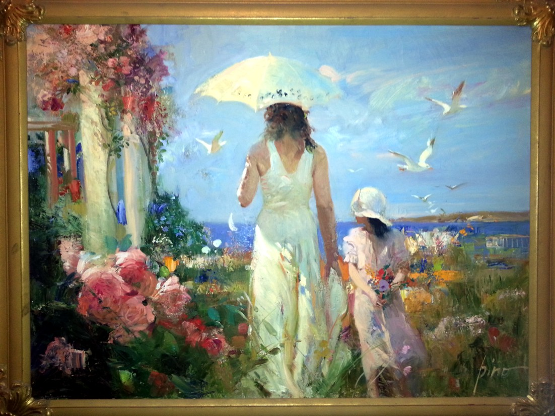 Mother and Child Seaside by Pino, Original Painting, Oil on Canvas Size: 40 x 30