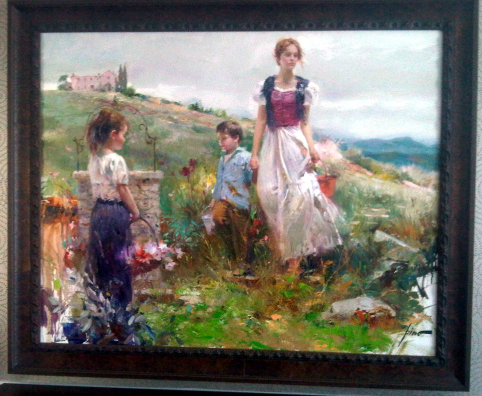 Mother and Children  by Pino Original Painting, Oil on Canvas Size: 40 x 50
