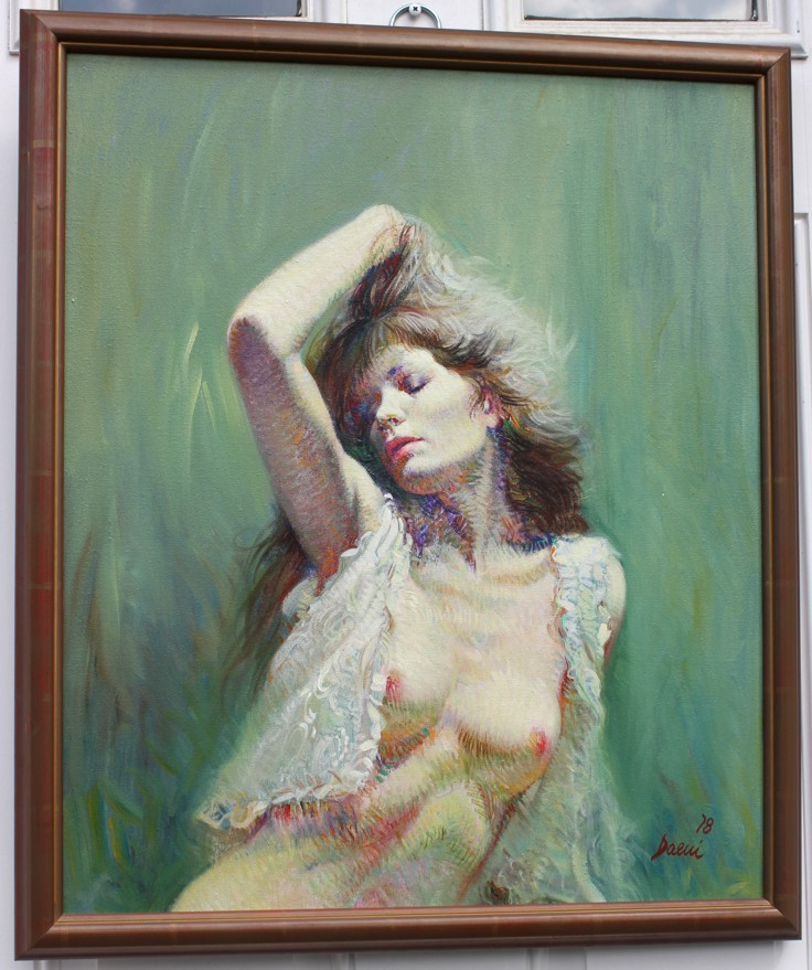 Nude in White by Pino Original Painting, Oil on Canvas Size: 24 x 20