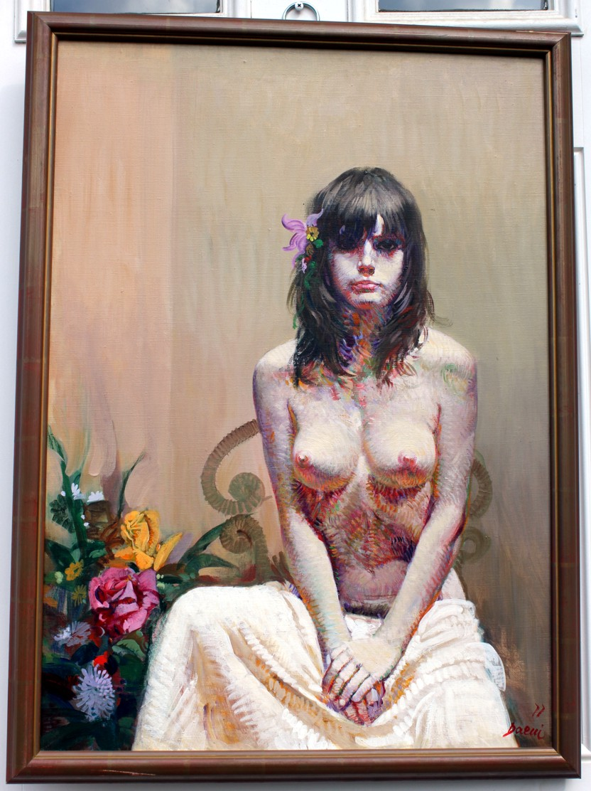 Nude with Flowers by Pino, Original Painting, Oil on Canvas Size: 28 x 20