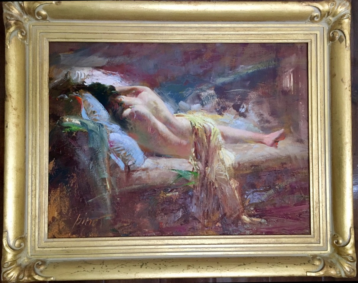 Reclining Nude by Pino Original Painting, Oil on Canvas Size: 24 x 20