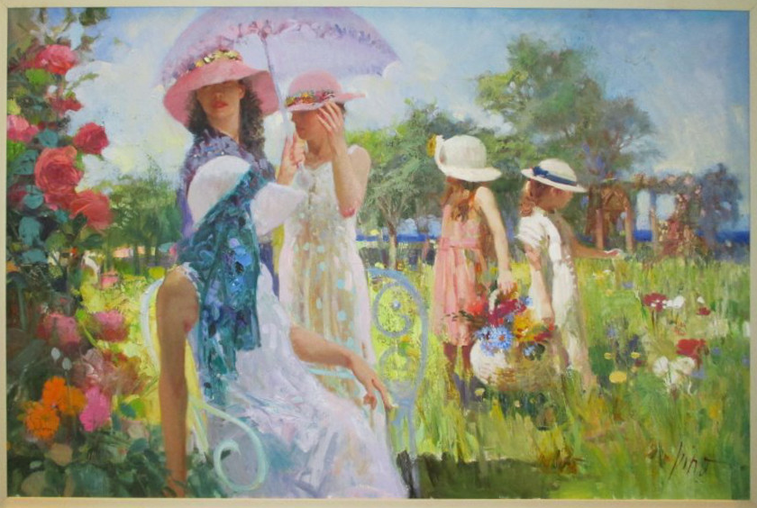 Strolling in the Garden by Pino Original Painting on Canvas