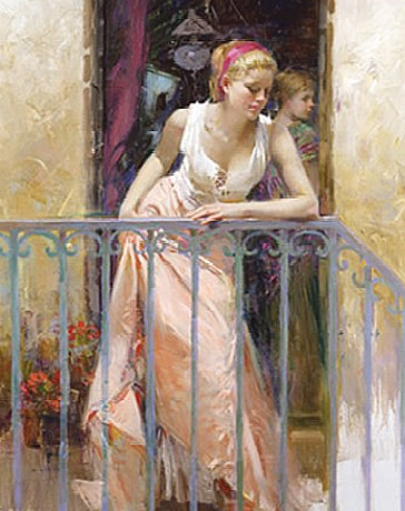 AT THE BALCONY Hand Embellished by Pino Giclee on Canvas 40 x 32