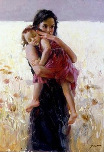 Maternal Instincts 2002 Giclee on Canvas 30 x 21 by Pino