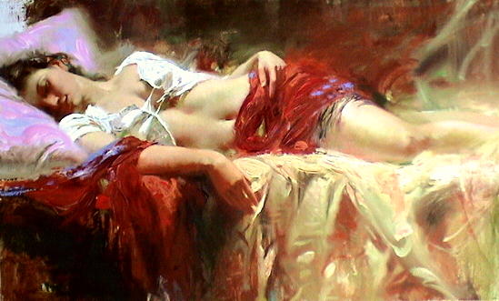 RESTFUL Hand Embellished by Pino Giclee on Canvas 24 x 40
