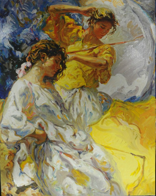 Dos Figuras Original Oil on Canvas Painting Fine Art by Jose Royo