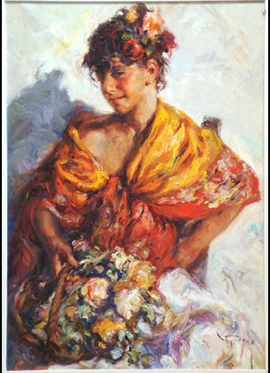 Gitanilla Original Oil on Canvas Painting Fine Art by Jose Royo
